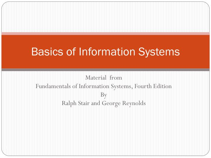 basics of information systems n.
