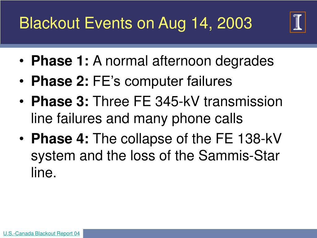 Blackout Events on Aug 14, 2003