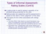 types of informal assessment rating scales cont d