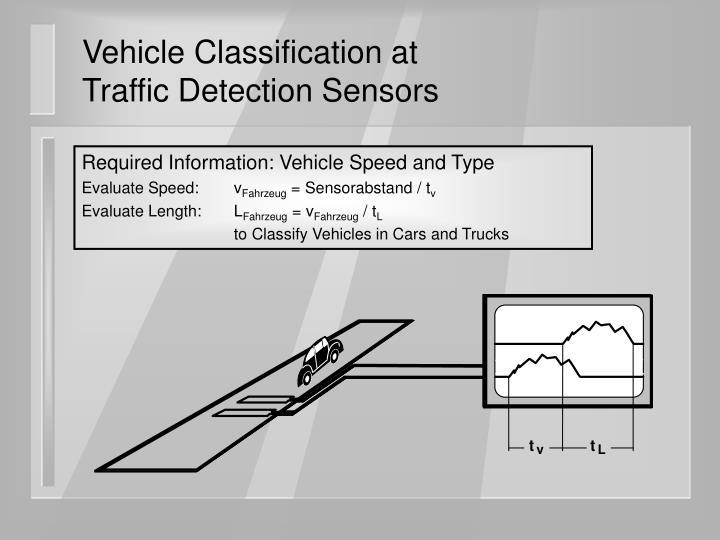 Vehicle classification at traffic detection sensors