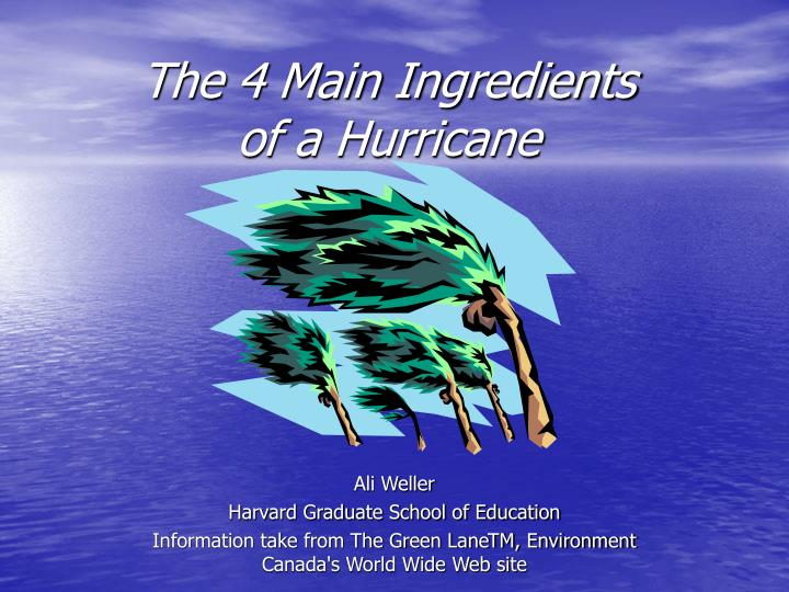 the 4 main ingredients of a hurricane n.