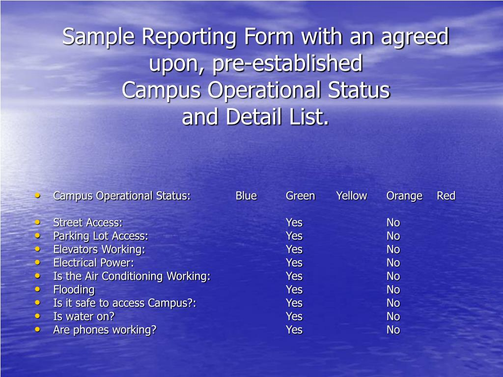 Sample Reporting Form with an agreed upon, pre-established