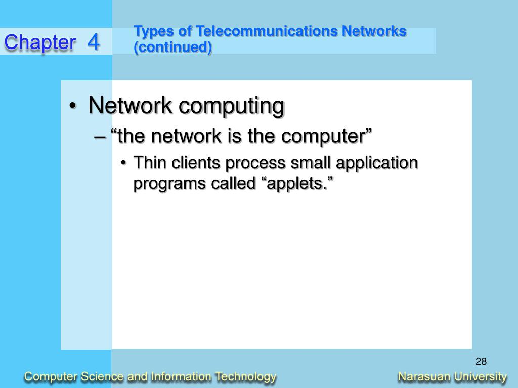 Types of Telecommunications Networks (continued)