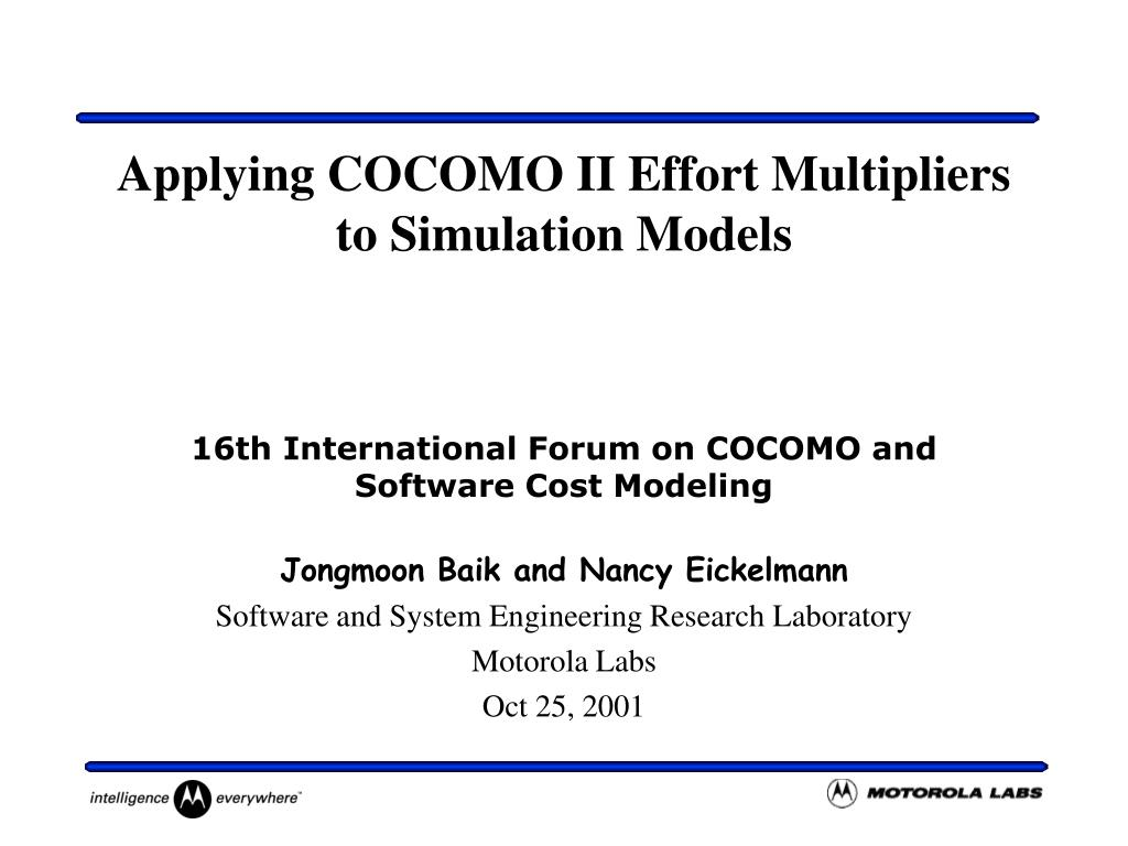 applying cocomo ii effort multipliers to simulation models l.