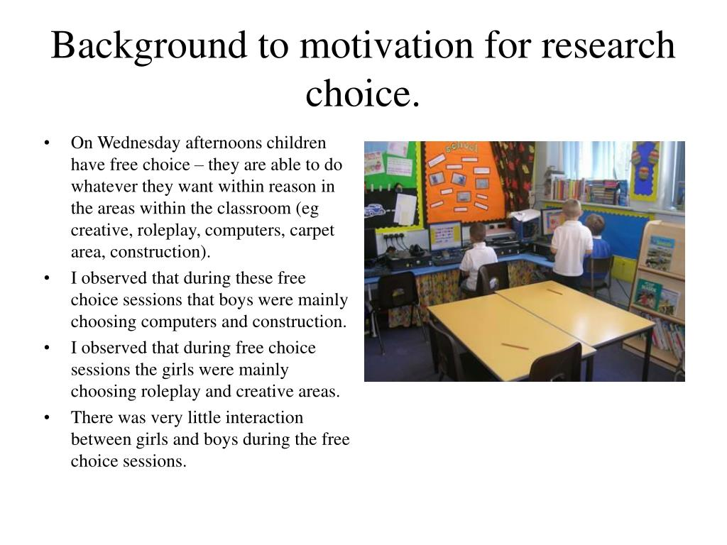 Background to motivation for research choice.