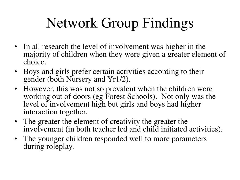 Network Group Findings