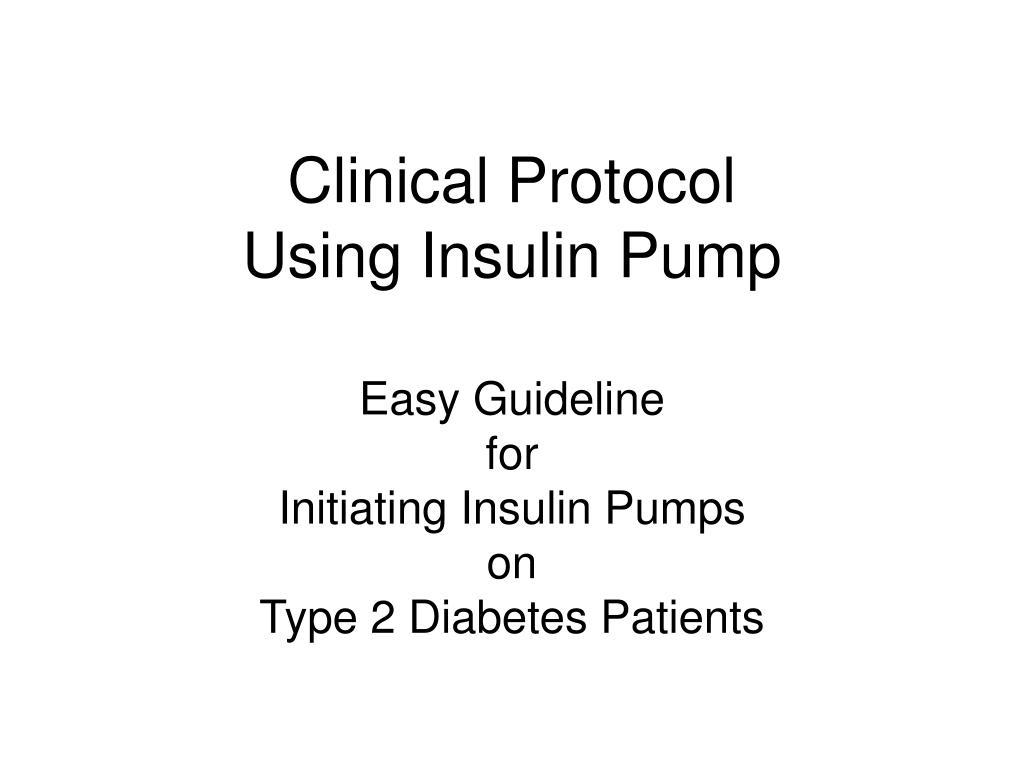 clinical protocol using insulin pump l.