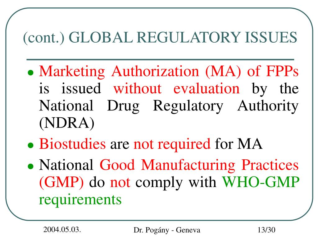 (cont.) GLOBAL REGULATORY ISSUES