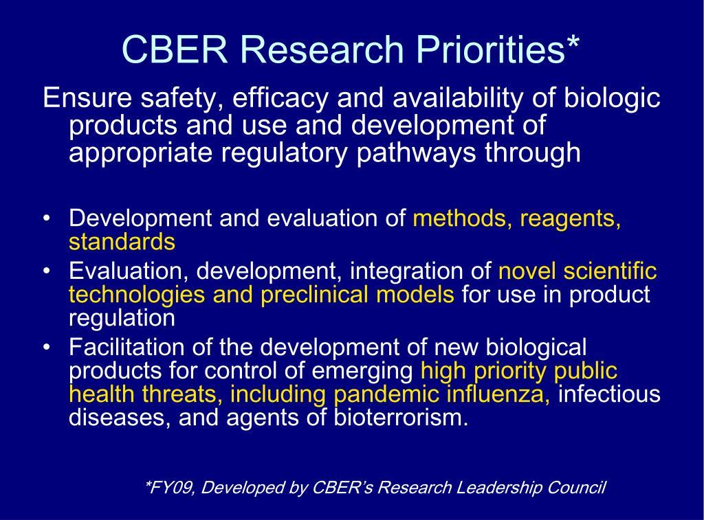 CBER Research Priorities*
