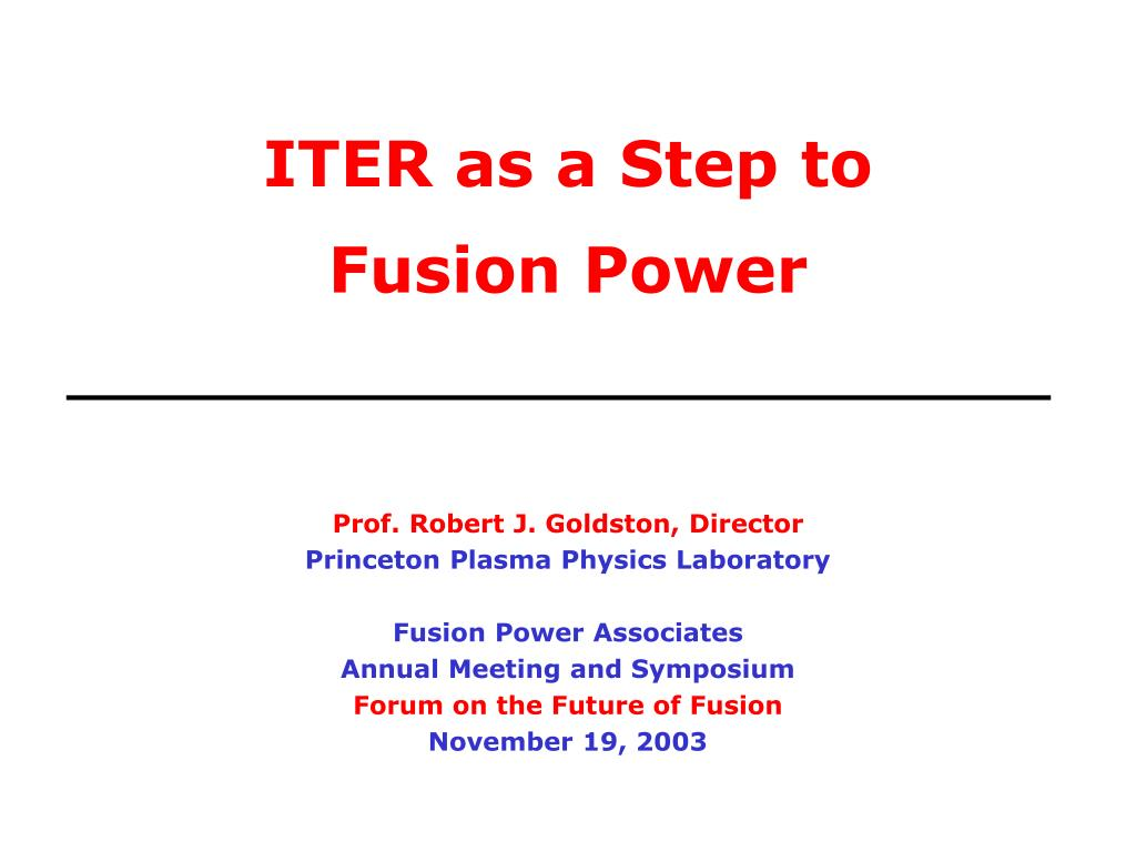iter as a step to fusion power l.