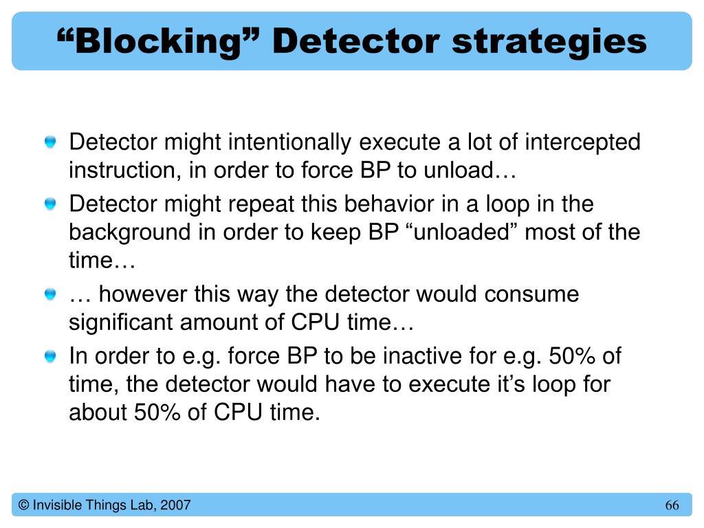 """Blocking"" Detector strategies"