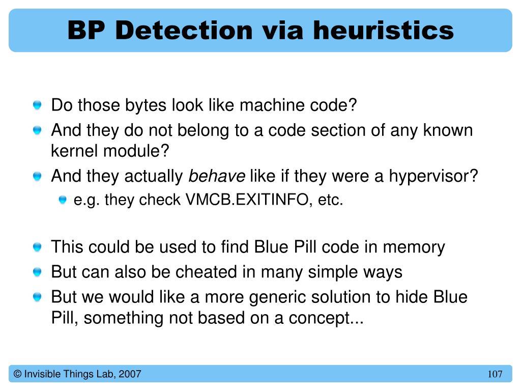 BP Detection via heuristics