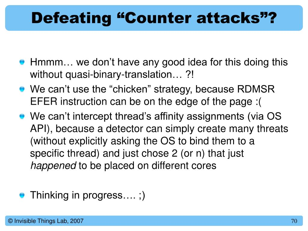 """Defeating """"Counter attacks""""?"""