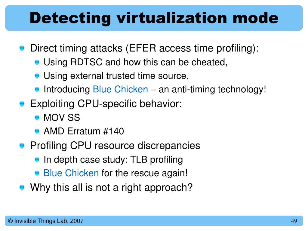 Detecting virtualization mode