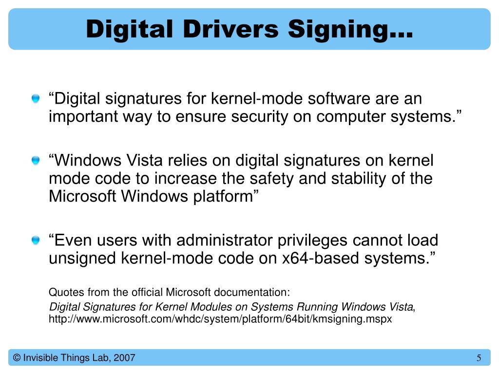 Digital Drivers Signing…