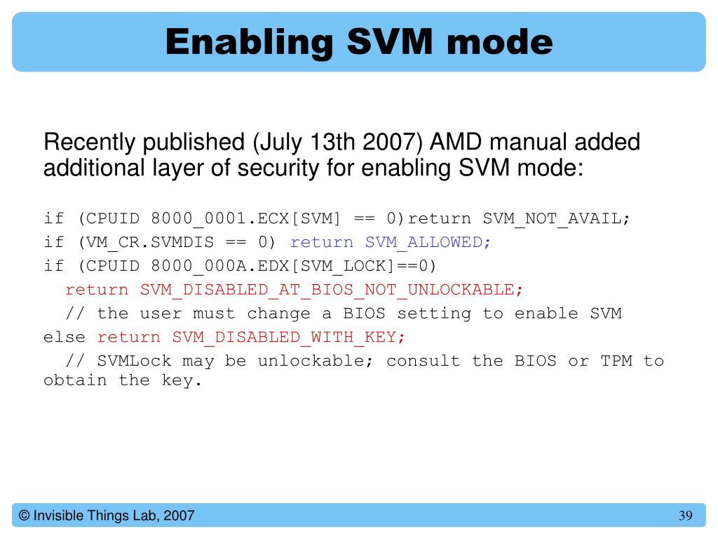 Enabling SVM mode