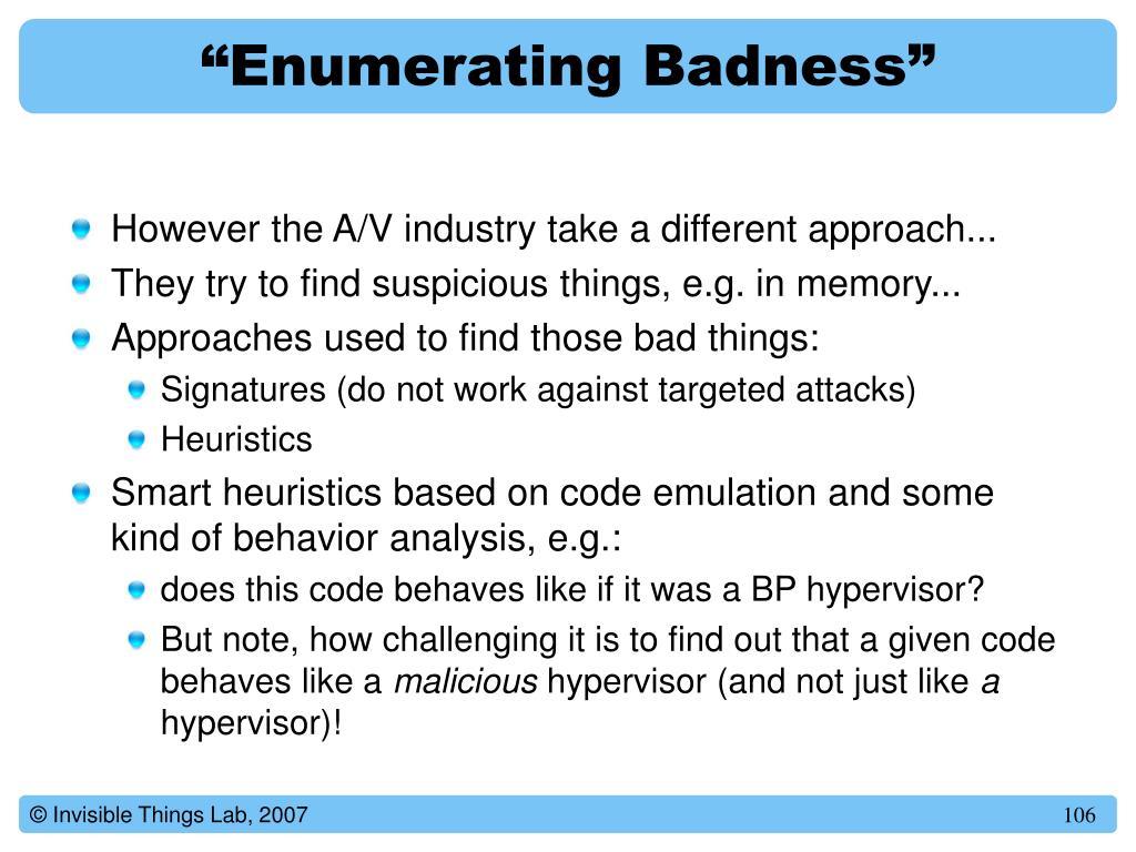 """Enumerating Badness"""