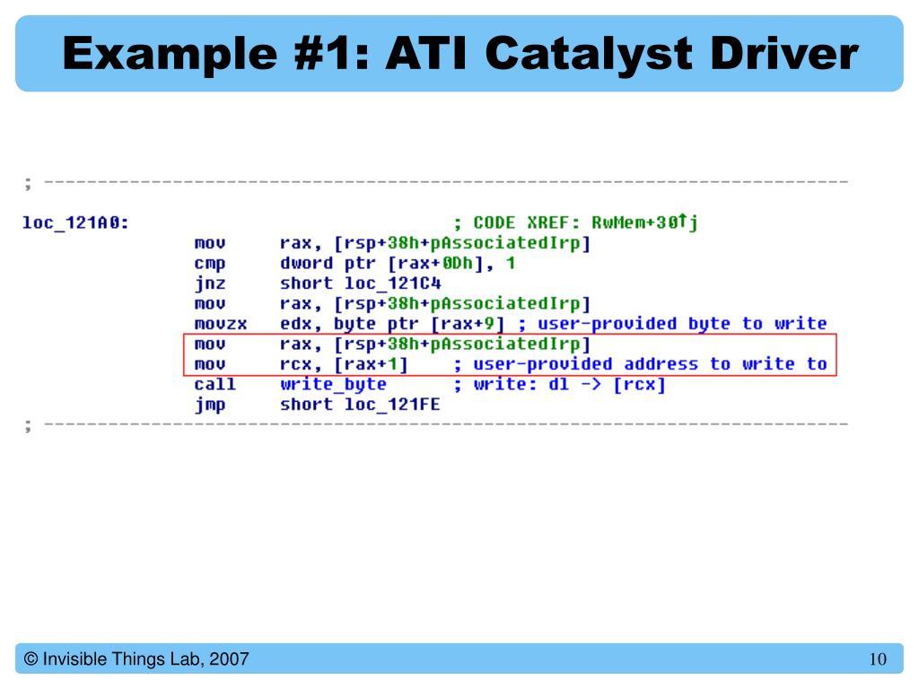 Example #1: ATI Catalyst Driver