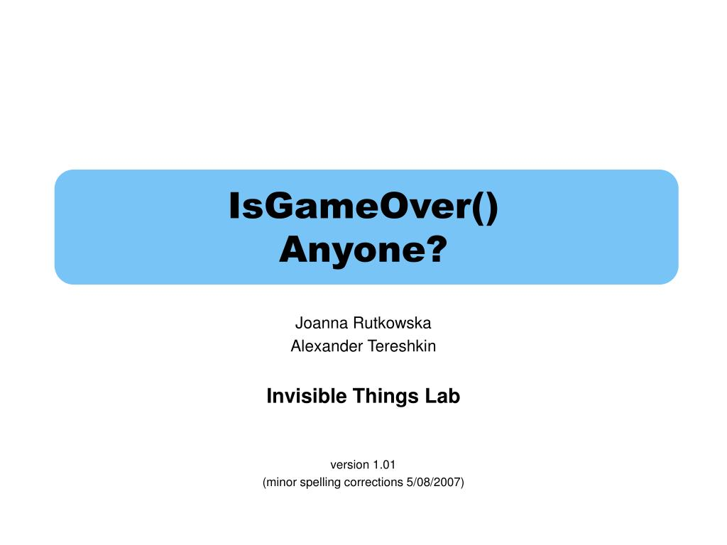 isgameover anyone l.