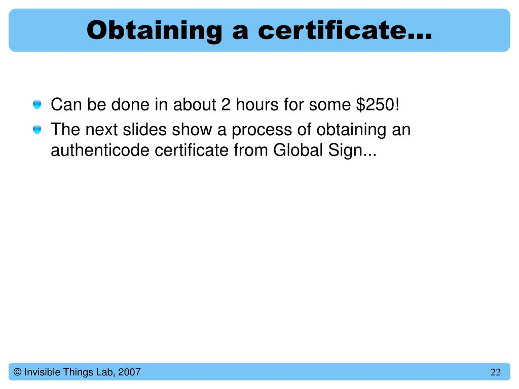 Obtaining a certificate…