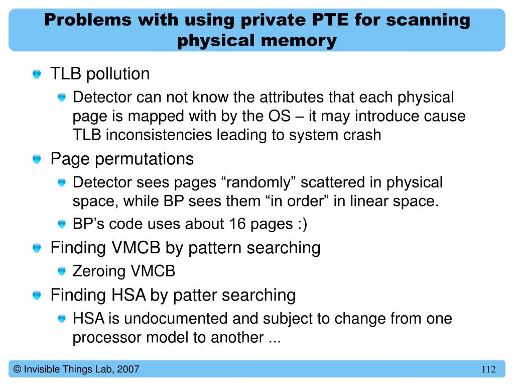 Problems with using private PTE for scanning physical memory