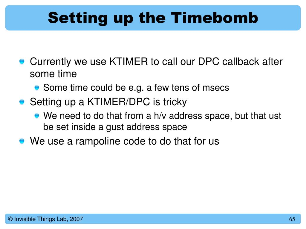 Setting up the Timebomb