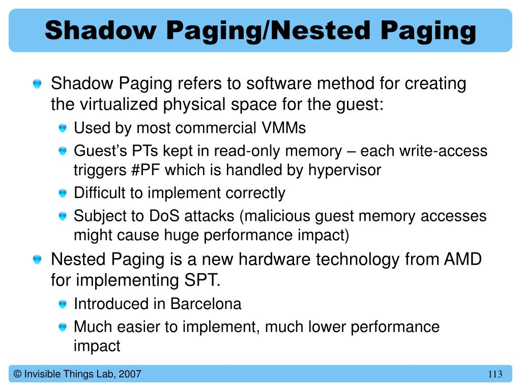 Shadow Paging/Nested Paging