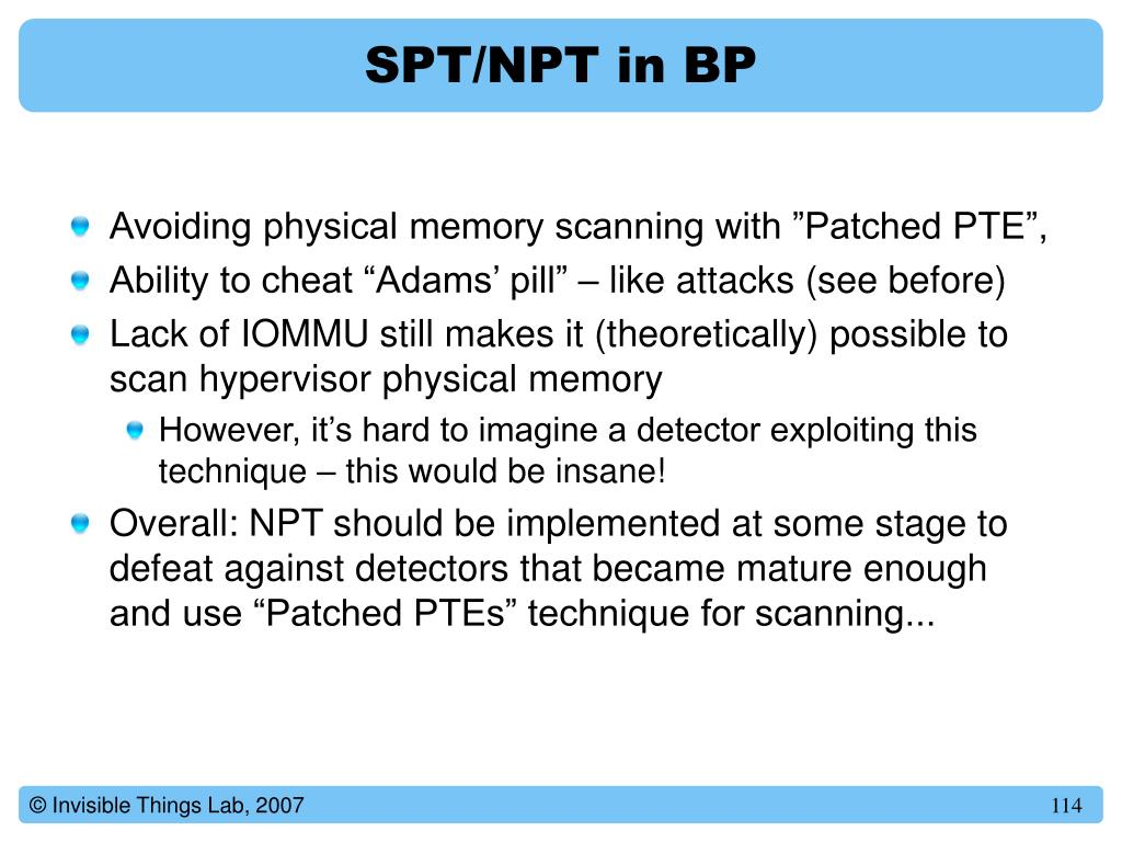SPT/NPT in BP