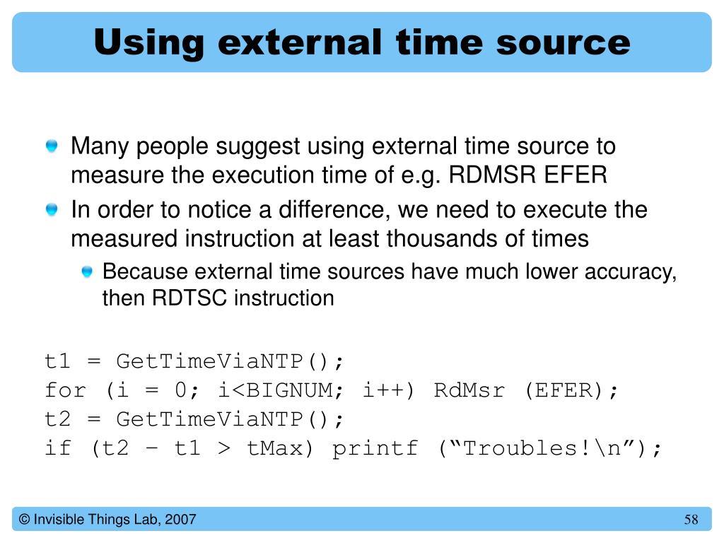 Using external time source