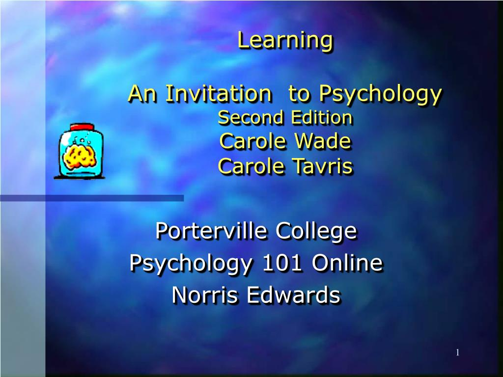 learning an invitation to psychology second edition carole wade carole tavris l.