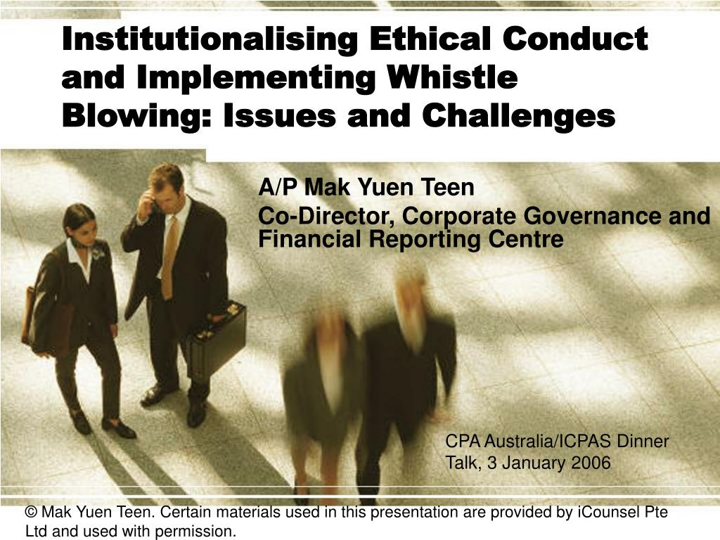 institutionalising ethical conduct and implementing whistle blowing issues and challenges l.