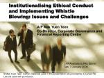 institutionalising ethical conduct and implementing whistle blowing issues and challenges