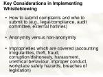 key considerations in implementing whistleblowing