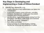 key steps in developing and implementing a code of ethics conduct7