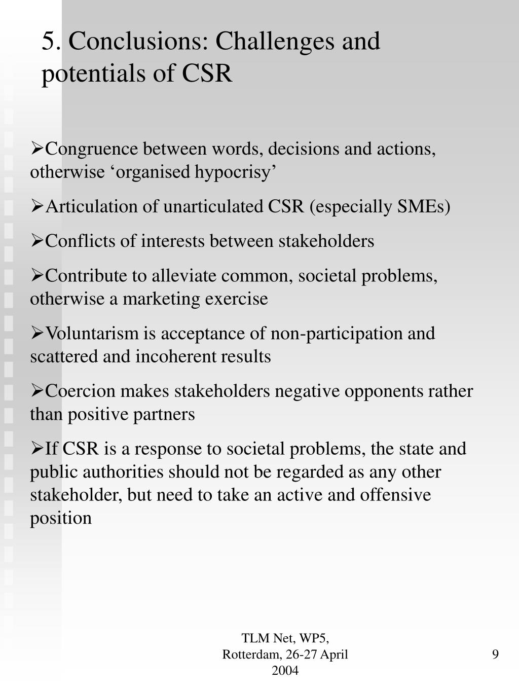 5. Conclusions: Challenges and potentials of CSR