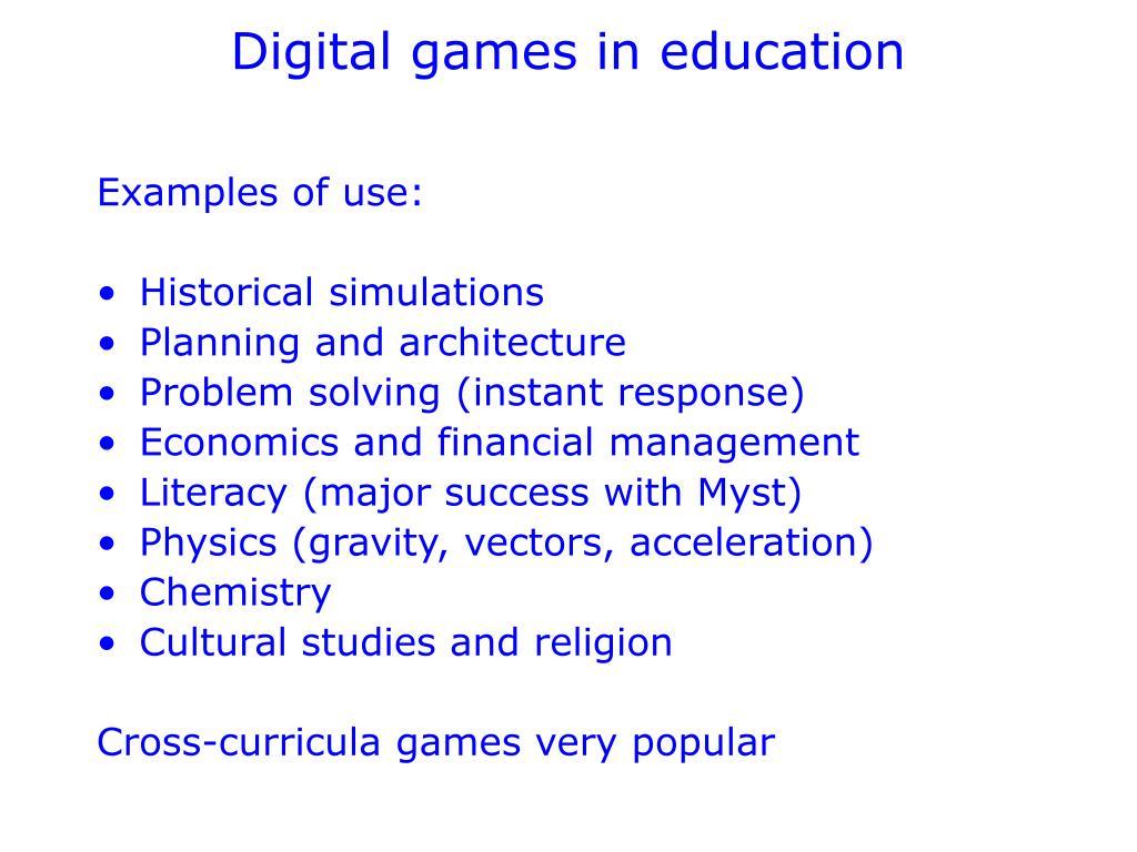 Digital games in education