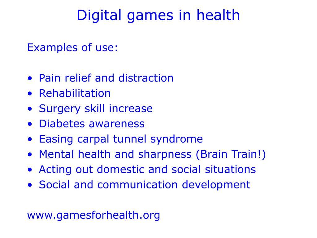 Digital games in health