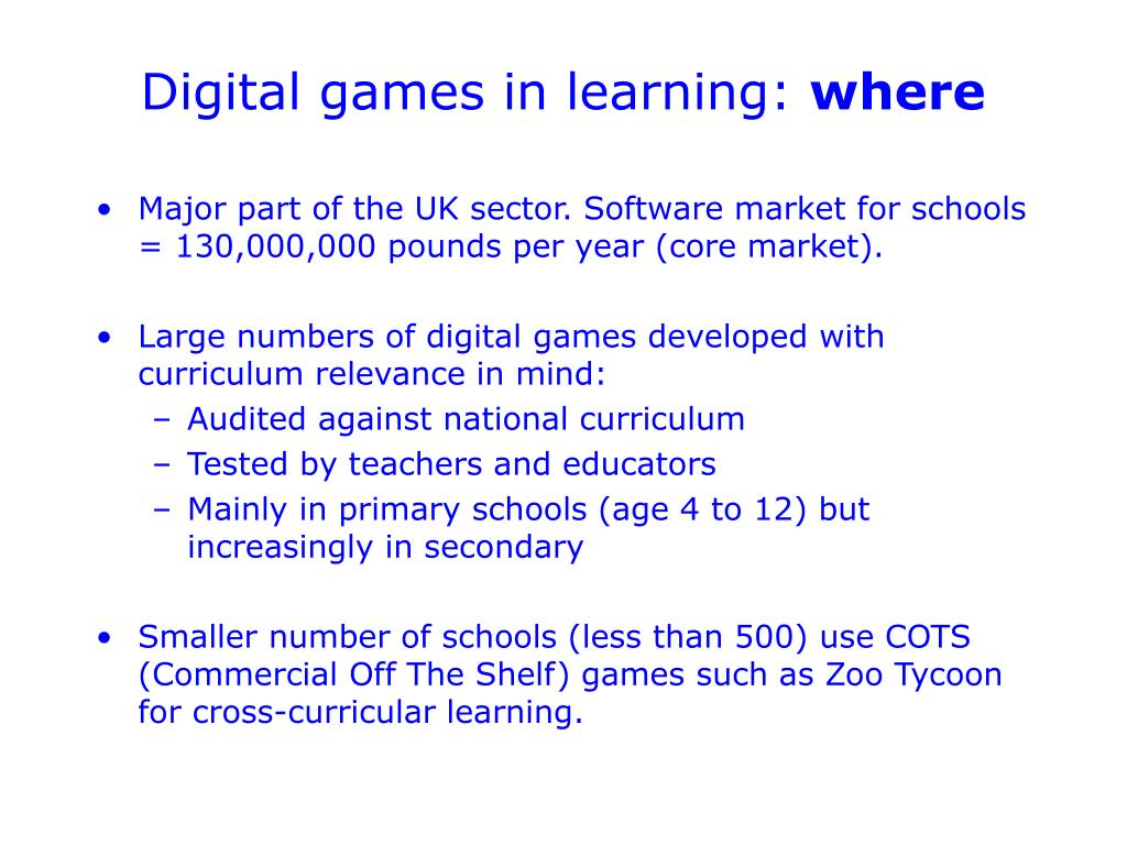 Digital games in learning: