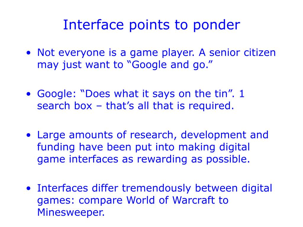 Interface points to ponder