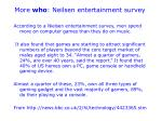 more who neilsen entertainment survey