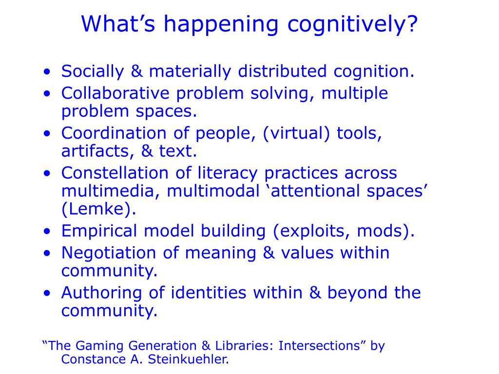 What's happening cognitively?
