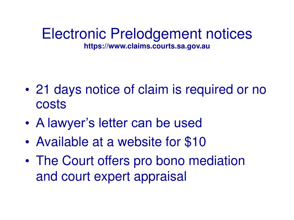 Electronic Prelodgement notices