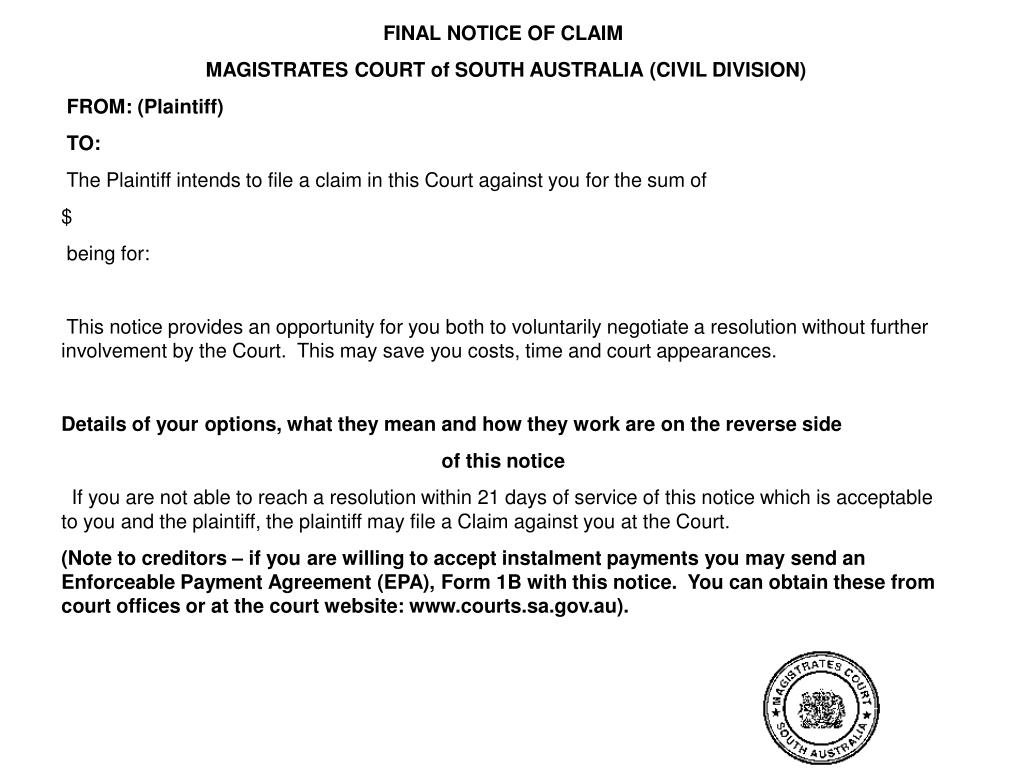 FINAL NOTICE OF CLAIM