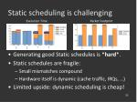static scheduling is challenging