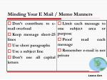 minding your e mail memo manners