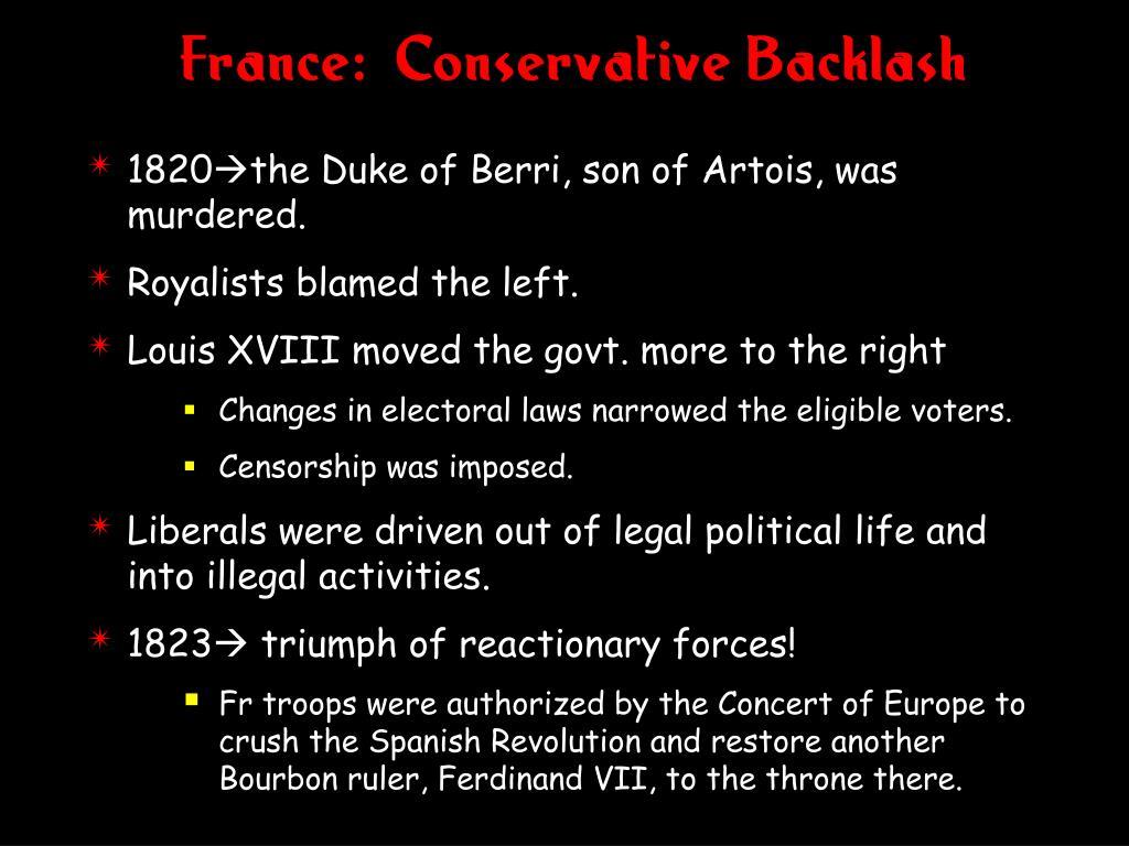 France:  Conservative Backlash