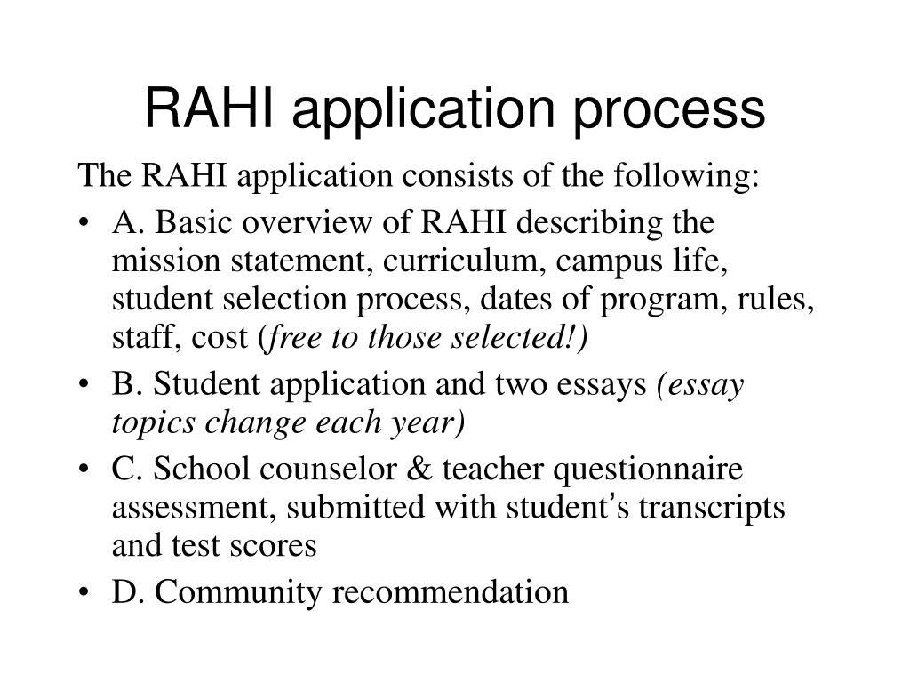 RAHI application process