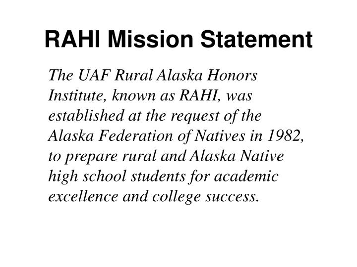 Rahi mission statement