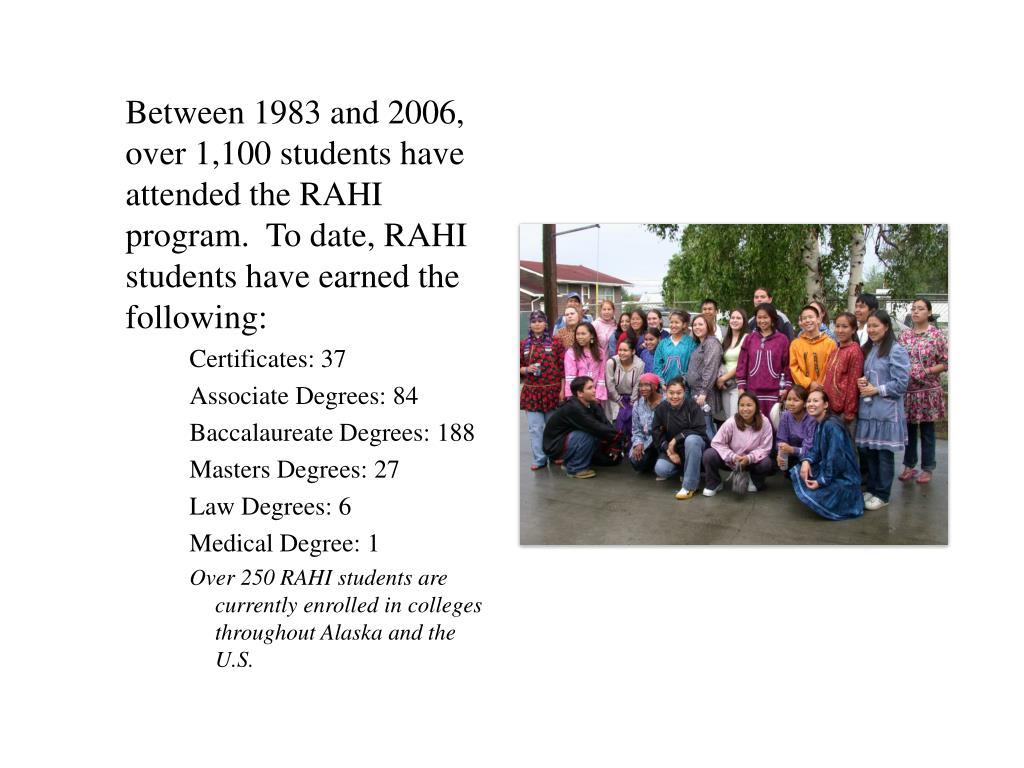 Between 1983 and 2006, over 1,100 students have attended the RAHI program.  To date, RAHI students have earned the following: